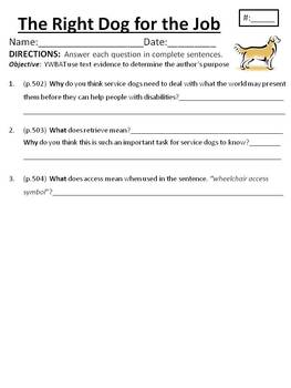 Houghton Mifflin Journeys Grade 4 The Right Dog for the Job