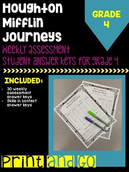 Houghton Mifflin Journeys Grade 4 Weekly Assessment Student Answer Key