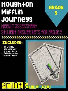 Houghton Mifflin Journeys Grade 5 Weekly Assessment Student Answer Key