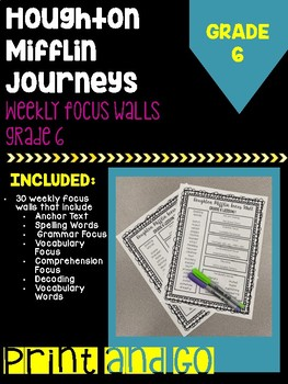 Houghton Mifflin Journeys Grade 6 Focus Wall Printable Take-Home Papers