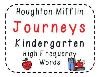 Houghton Mifflin Journeys Kindergarten High Frequency (Word Wall) Words