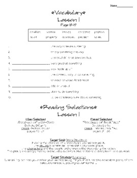 Journeys - HMH © 2011/2012 Grade 4 Lesson 01 Study Sheet