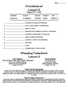 Journeys - HMH © 2011/2012 Grade 4 Lesson 11 Study Sheet
