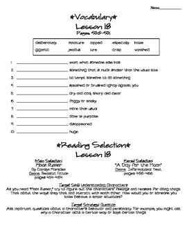Journeys - HMH © 2011/2012 Grade 4 Lesson 18 Study Sheet