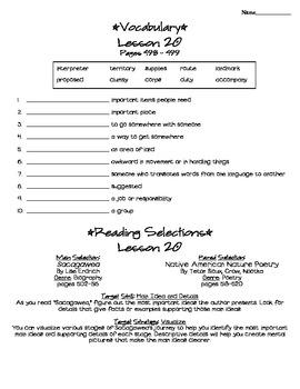 Journeys - HMH © 2011/2012 Grade 4 Lesson 20 Study Sheet
