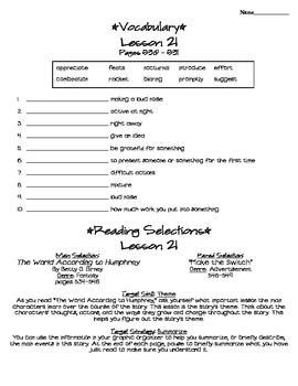 Journeys - HMH © 2011/2012 Grade 4 Lesson 21 Study Sheet