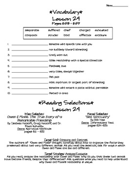 Journeys - HMH © 2011/2012 Grade 4 Lesson 24 Study Sheet
