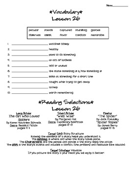 Journeys - HMH © 2011/2012 Grade 4 Lesson 26 Study Sheet