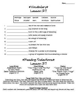 Journeys - HMH © 2011/2012 Grade 4 Lesson 27 Study Sheet