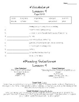 Journeys - HMH © 2011/2012 Grade 4 Lesson 04 Study Sheet