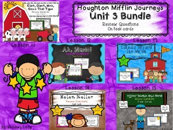 Houghton Mifflin Journeys Unit 3 Review Question Task Cards (5 story set)