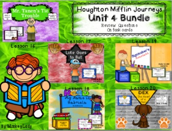 Houghton Mifflin Journeys Unit 4 Review Question Task Cards (5 story set)