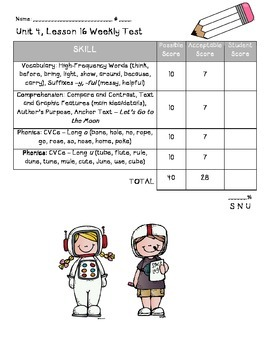 Houghton Mifflin Journeys Unit 4 Scoresheets First Grade