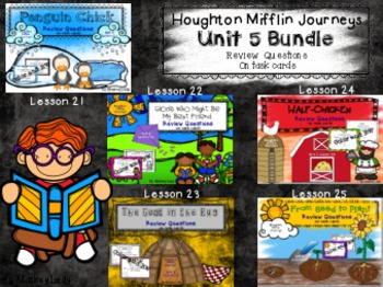 Houghton Mifflin Journeys Unit 5 Review Question Task Cards (5 story set)