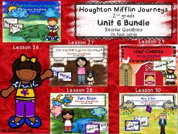 Houghton Mifflin Journeys Unit 6 Review Question Task Cards (5 story set)