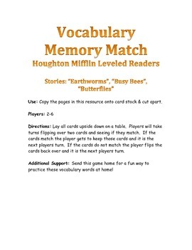 Houghton Mifflin Leveled Readers Vocabulary Match Ant Stories
