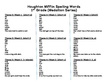 Houghton Mifflin (Medallion) 1st Grade Spelling Lists and Sentence