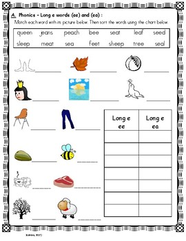 Phonics Skills Workbook - Focus Long E (ee, ea) & Review of First Grade Skills