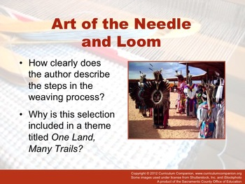 Houghton Mifflin Reading Gr 5 Art of the Needle and Loom Common Core Standards