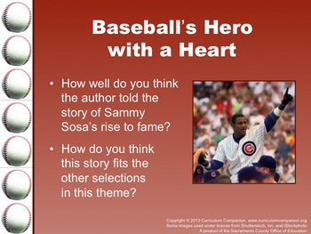 Houghton Mifflin Reading Gr 5 Baseball's Hero with a Heart Common Core Standards
