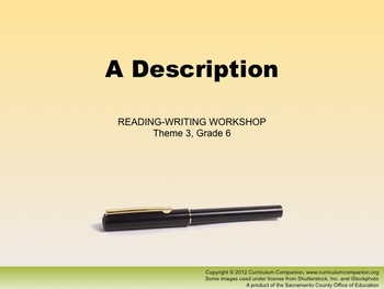 Houghton Mifflin Reading Gr 6 Writing: A Description Common Core Standards