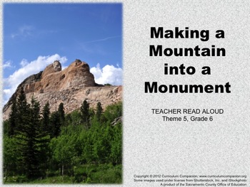 Houghton Mifflin Reading, Grade 6, Making a Mountain ... Common Core Standards