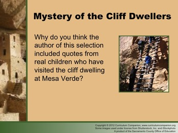 Houghton Mifflin Reading Grade 6 Mystery of Cliff Dwellers Common Core Standards