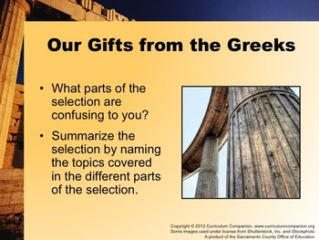 Houghton Mifflin Reading Grade 6 Our Gifts from the Greeks Common Core Standards