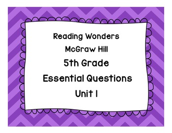5th Grade Essential Question Posters Houghton Mifflin Reading Wonders