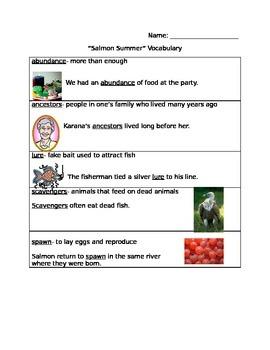 Houghton Mifflin Salmon Summer Vocabulary
