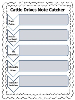 Houghton Mifflin Social Studies - 5 Cattle Drives Note Catcher
