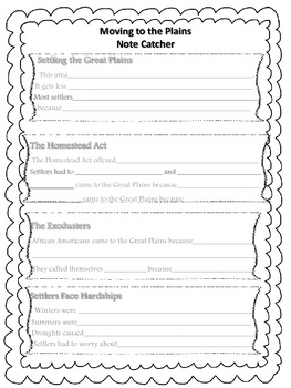 Houghton Mifflin Social Studies - 5 Moving to the Great Plains Note Catcher
