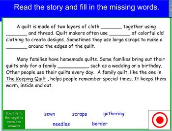 Houghton Mifflin The Keeping Quilt Vocabulary Cloze