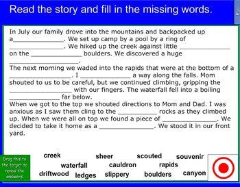 Houghton Mifflin The Waterfall Vocabulary Cloze