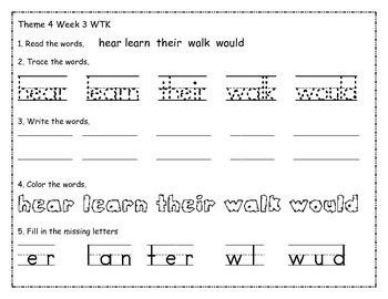 Houghton Mifflin Theme 4 WTK worksheet