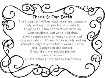 Houghton Mifflin Theme 8 Daily Writing Prompts!