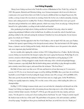 Houghton Mifflin's Lou Gehrig: The Luckiest Man Biography