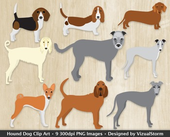 Hound Dog Clip Art Collection, 9 Hand Drawn Howling Dog Br