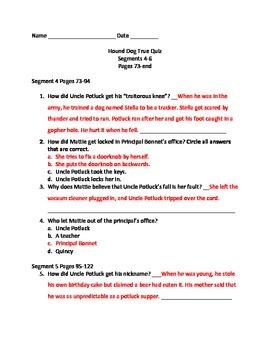 Hound Dog True Answer Keys