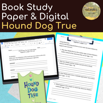 Hound Dog True Entire Book Vocabulary and Comprehnesion Questions