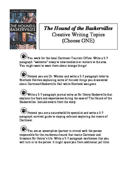 Hound of the Baskervilles Creative Writing Topics