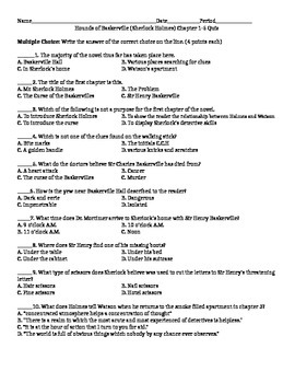Hounds of Baskerville Chapter 1-5 Quiz with Essay and Answer Key