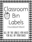 Classroom Bin Labels (Houndstooth-Black)