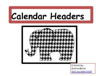Houndstooth Calendar Headers