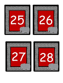 Houndstooth Calendar Numbers