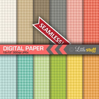 Houndstooth Digital Papers, Hound's Tooth Digital Backgrounds
