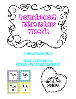 Houndstooth Table Labels