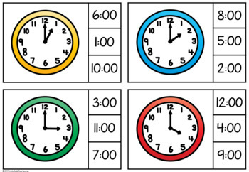 Clock Time Clip Cards