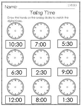Hour/Half Hour Time Practice
