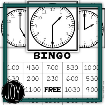 Hour and Half Hour BINGO with 1 Hour and 1/2 Hour Elapsed Time Versions